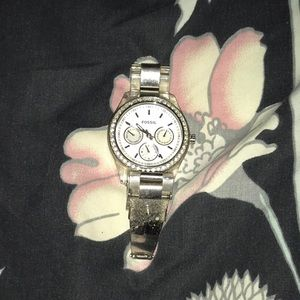 Silver Fossil watch with rhinestones